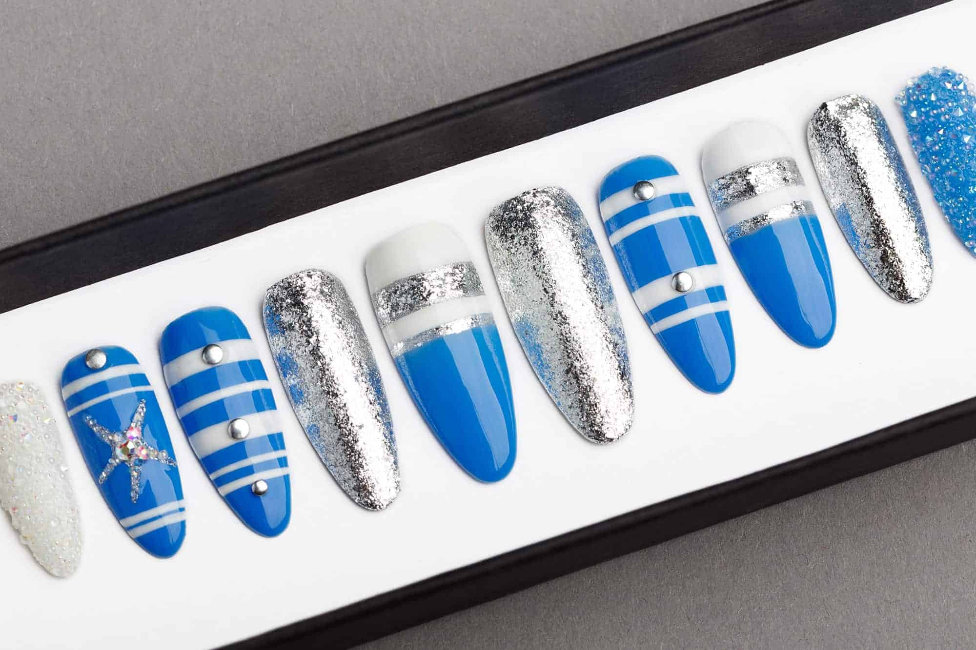 Blue Ocean Press on Nails with Glitters