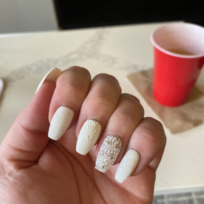 All White Press on Nails with Rhinestones