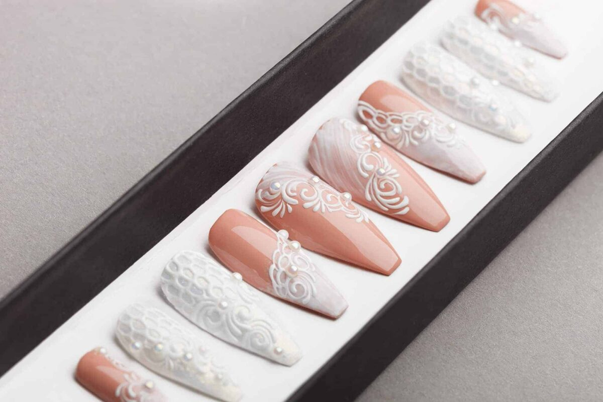 Best nails for wedding is White wedding Press on Nails.