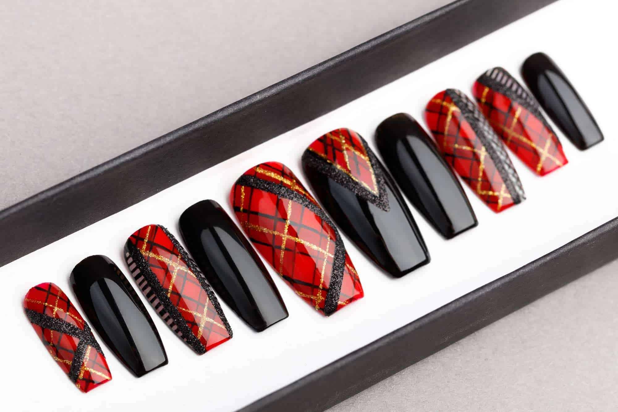Balmain inspired press on nails, fake nails, pop-ons, celebrity nails