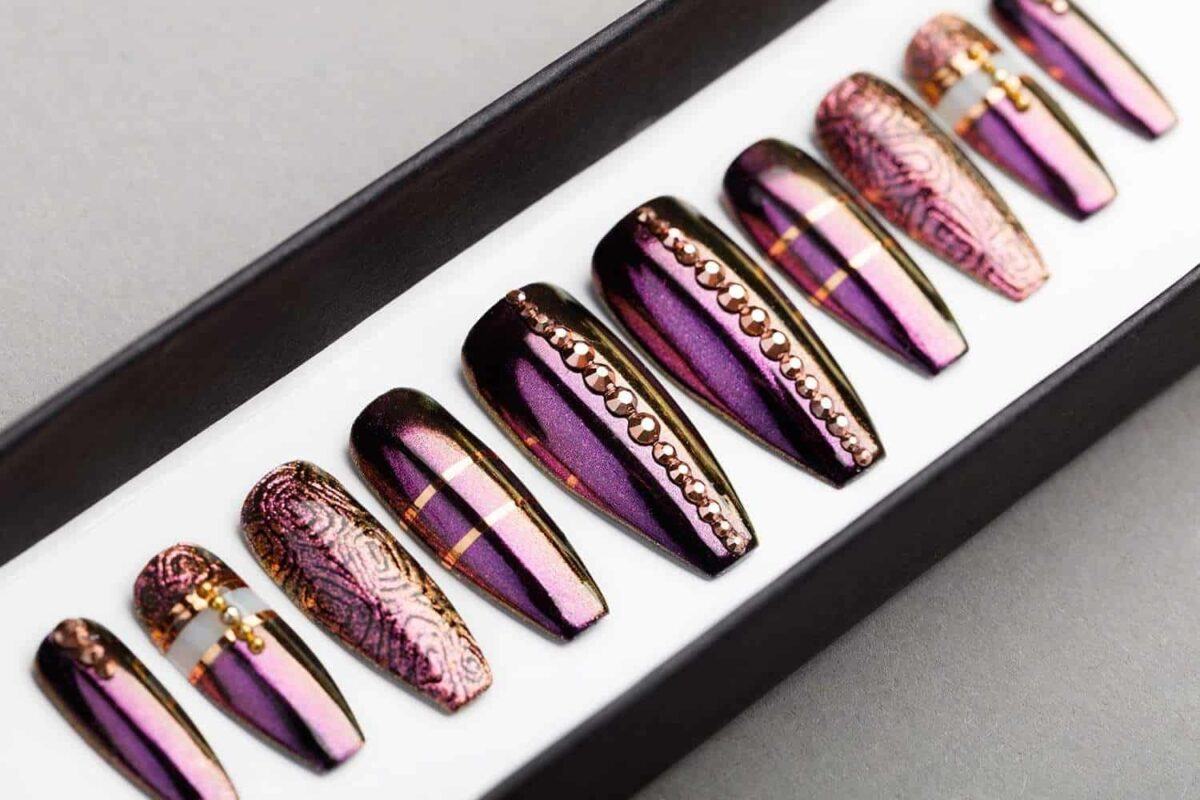 Purple Press on Nails. Rose Gold Swarovski. Hand-painted Nail Art. Fake Nails, False Nails, Glue On Nails