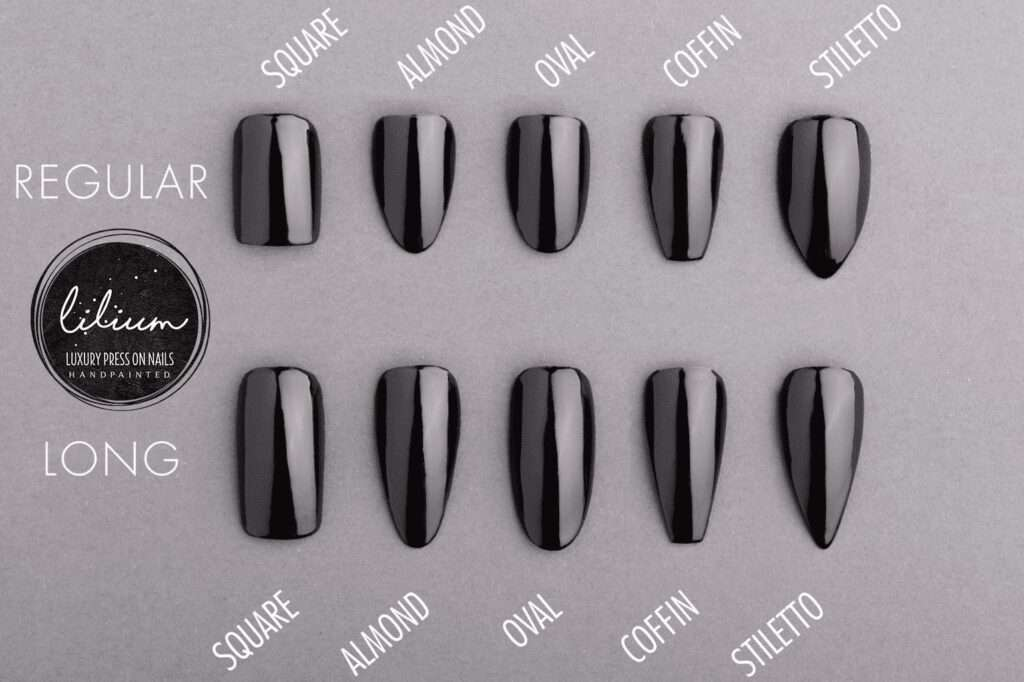 Different shapes of press on nails.