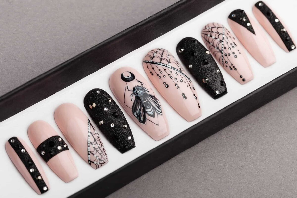 BarFly Press on Nails with Swarovski Crystals | Gothic nails | Hand painted Nail Art | Fake Nails | False Nails | Rock Nails