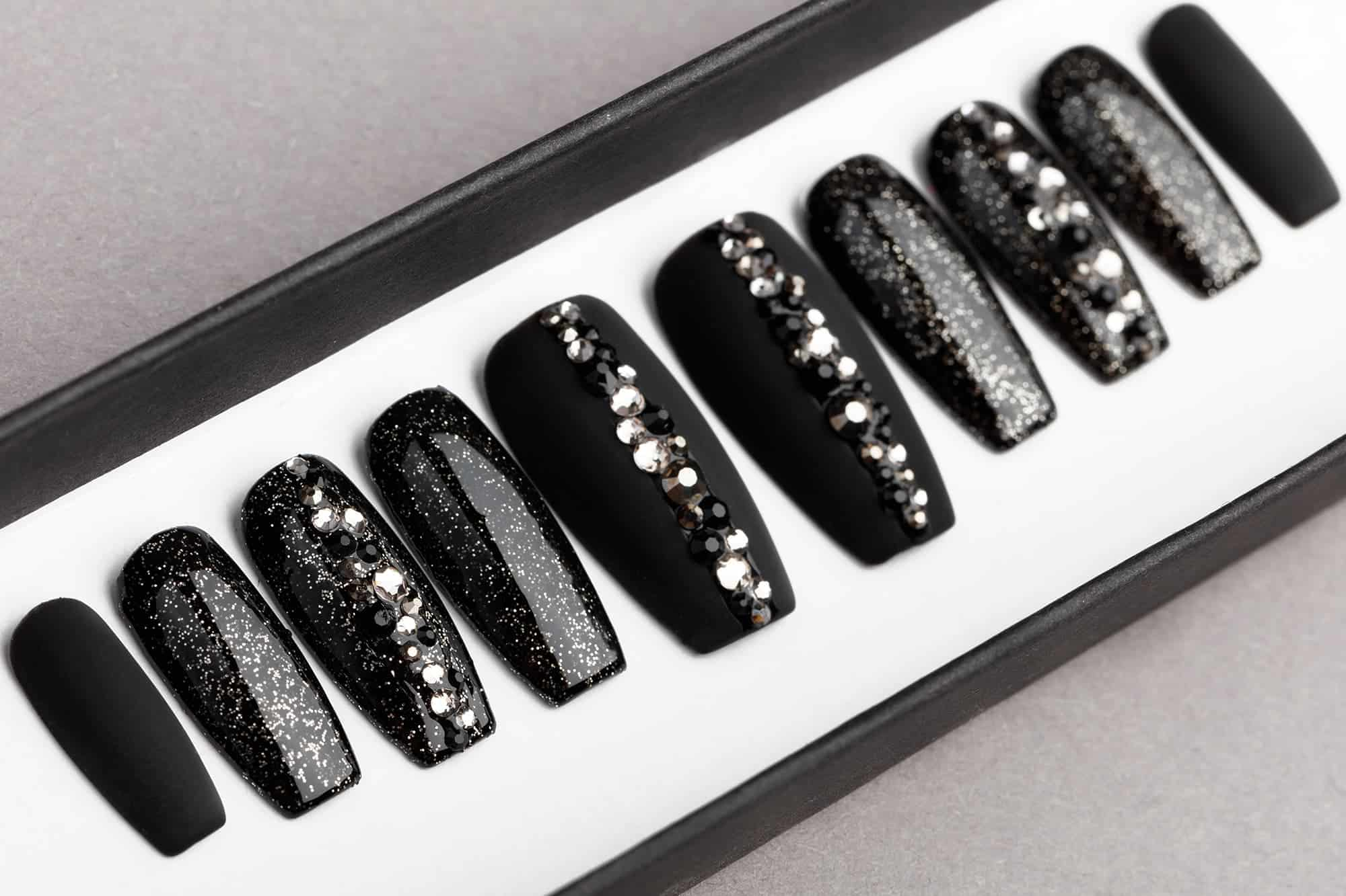 Black Abstract Press On Nails with Swarovski crystals | Hand painted Nail Art | Fake Nails | False Nails | Rhinestones