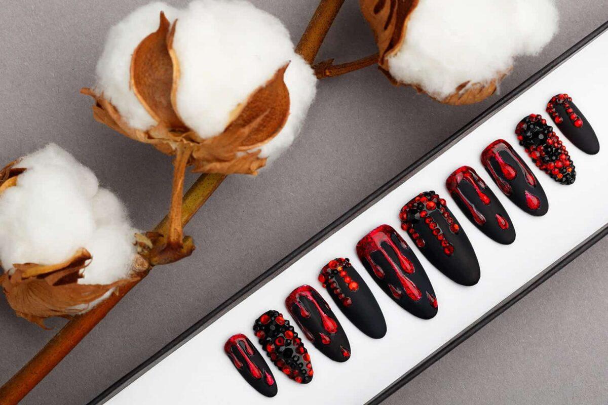 Black And Red Press on Nails with Swarovski Crystals   Gothic nails   Hand painted Nail Art   Fake Nails   False Nails