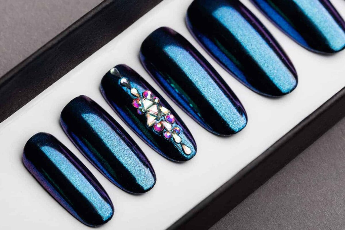 Blue and Purple Mirror Press on Nails   Nude Nails   Handpainted Nail Art   Fake Nails   False Nails   Unicorn Nails   Chrome nails