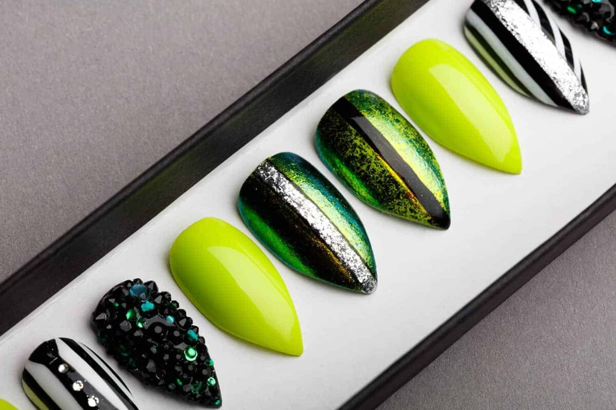 Beetlejuice Green Press on Nails with Swarovski Crystals