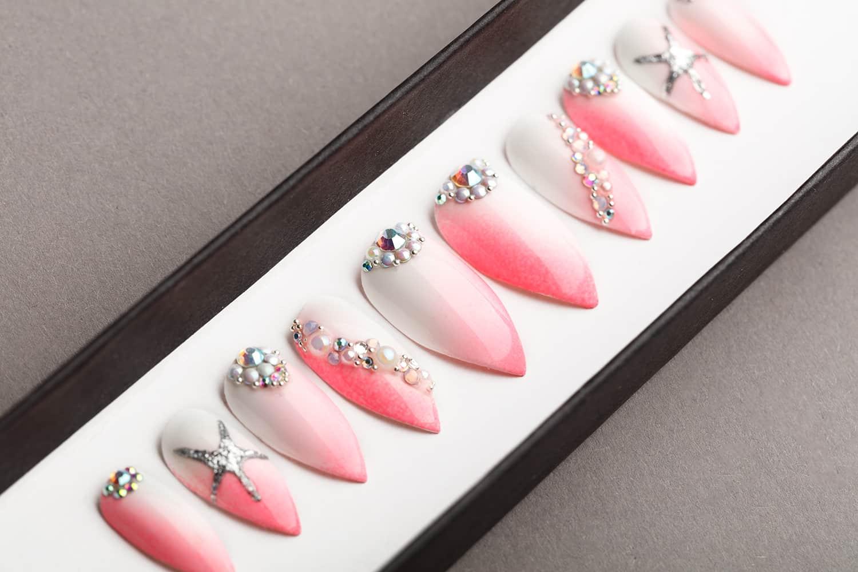 Caribbean Press on Nails with Swarovski crystals | Gradient Nails | Modern Nails | Hand painted Nail Art | Fake Nails | False Nails