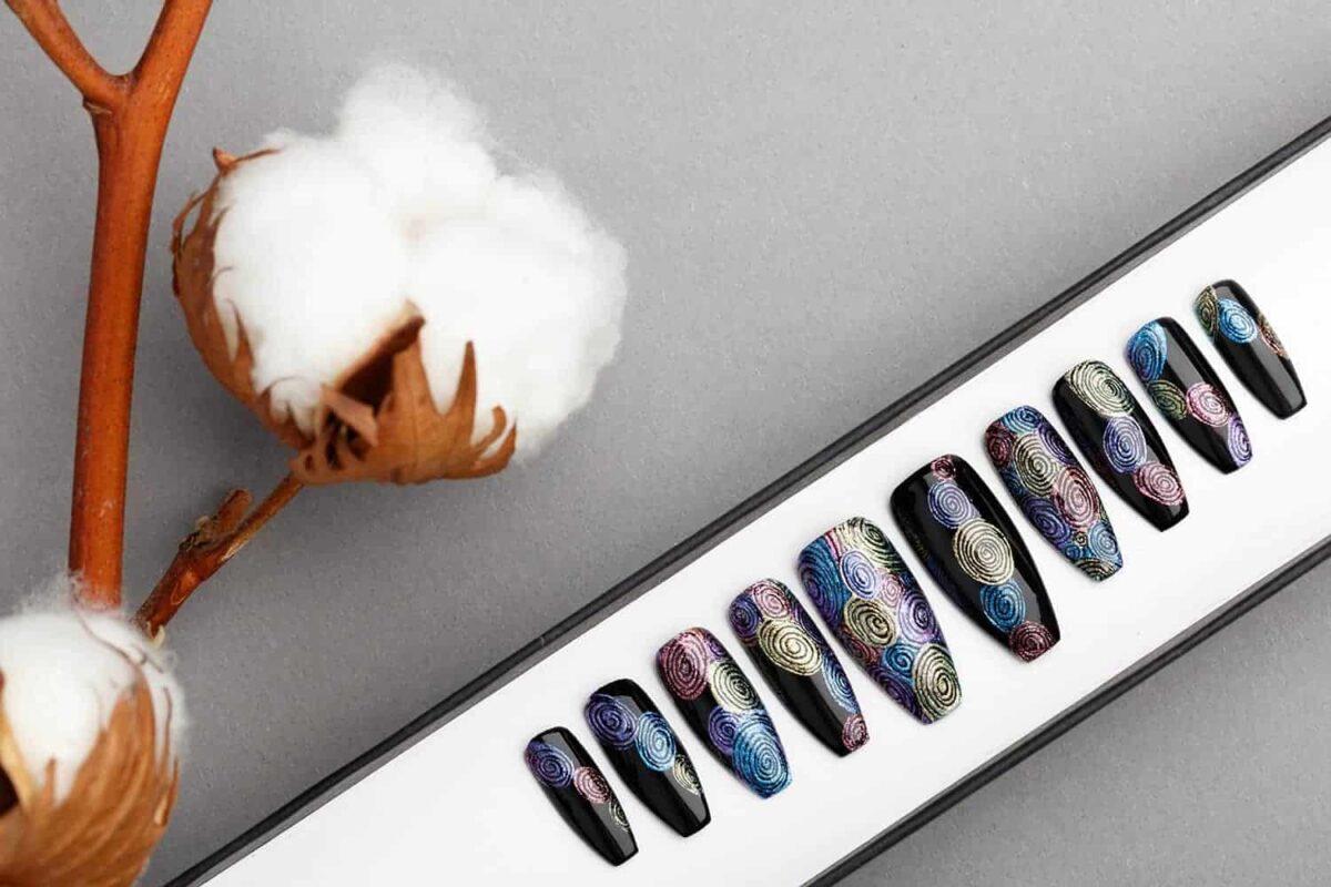 Circles Abstraction Press on Nails   Fake Nails   False Nails   Abstract Nail Art   Bling Nails