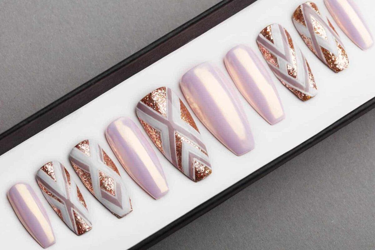 Geometry and Pearl Press on Nails   Hand painted Nail Art   Fake Nails   False Nails   Artificial Nails   Glitters