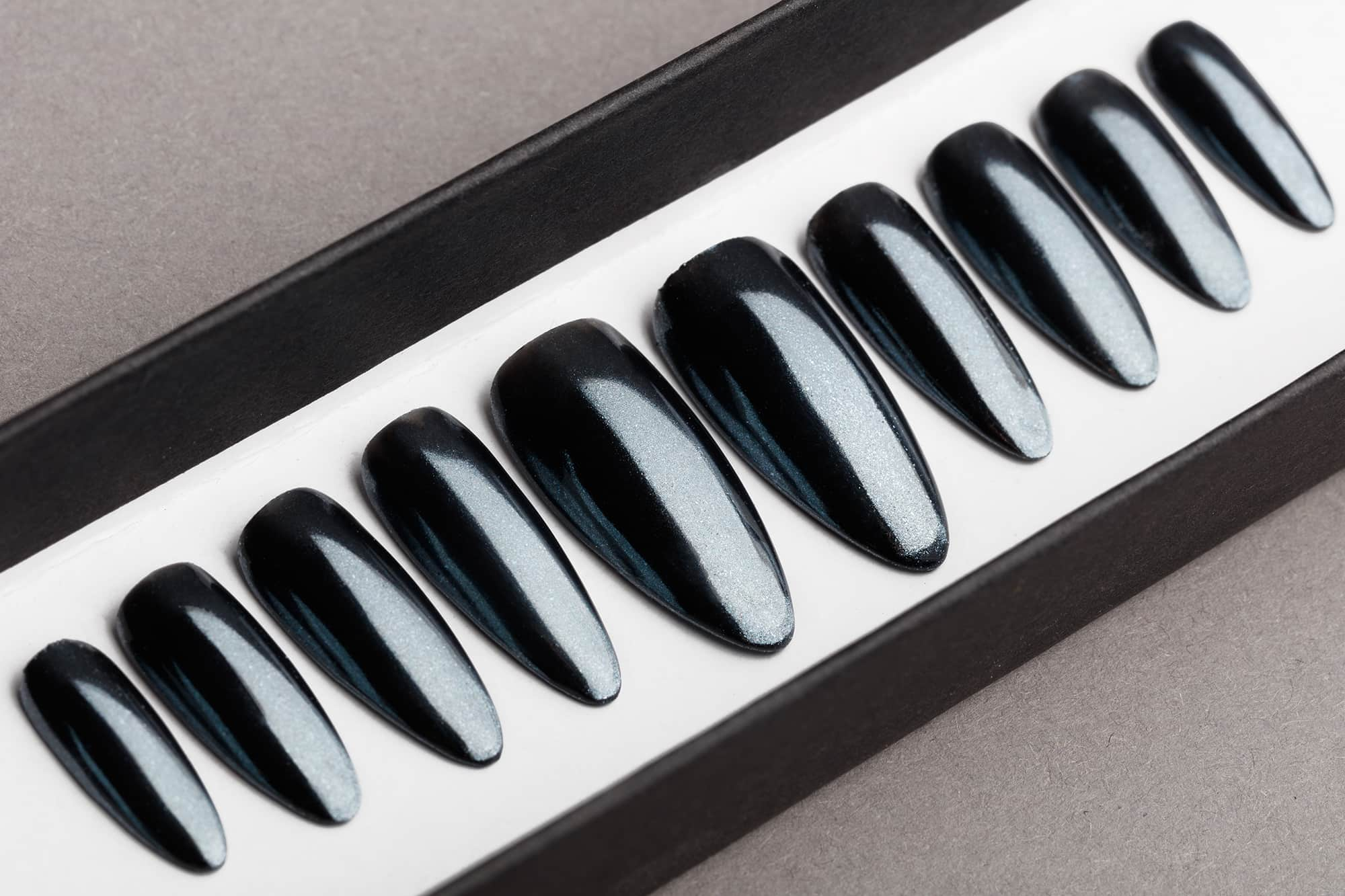 Graphite Mirror Press on Nails | Black Nails | Handpainted Nail Art | Fake Nails | False Nails | Coffin Nails | Chrome nails