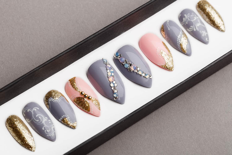 Gray & Pink Press on Nails with Swarovski crystals   Hand painted Nail Art   Fake Nails   False Nails   Artificial Nails   Glitters