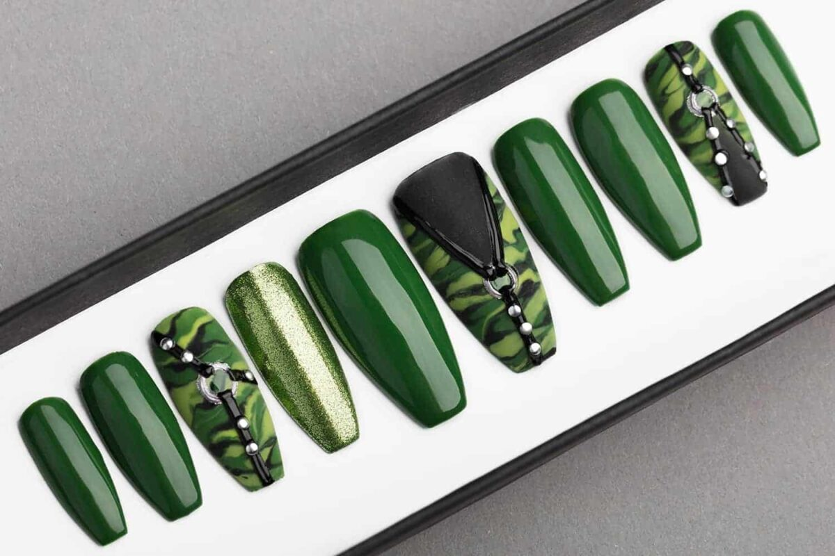 Green Camo Press on Nails | Hand painted Nail Art | Fake Nails | False Nails | Artificial Nails