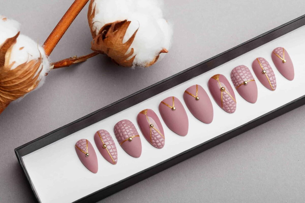 Beige Matt Press on Nails with 3D texture | Golden Hemisphere | Hand painted Nail Art | Fake Nails | False Nails