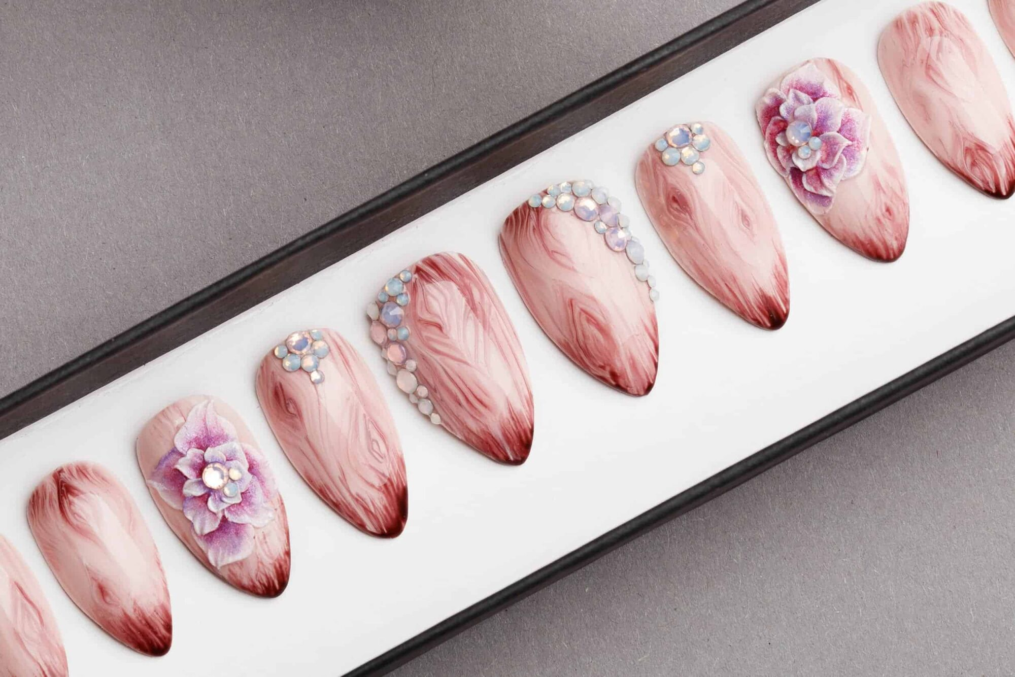 Beige Press on Nails with Wooden Texture and Handmade 3D flowers | Swarovski Crystals | Hand painted Nail Art | Fake Nails | False Nails
