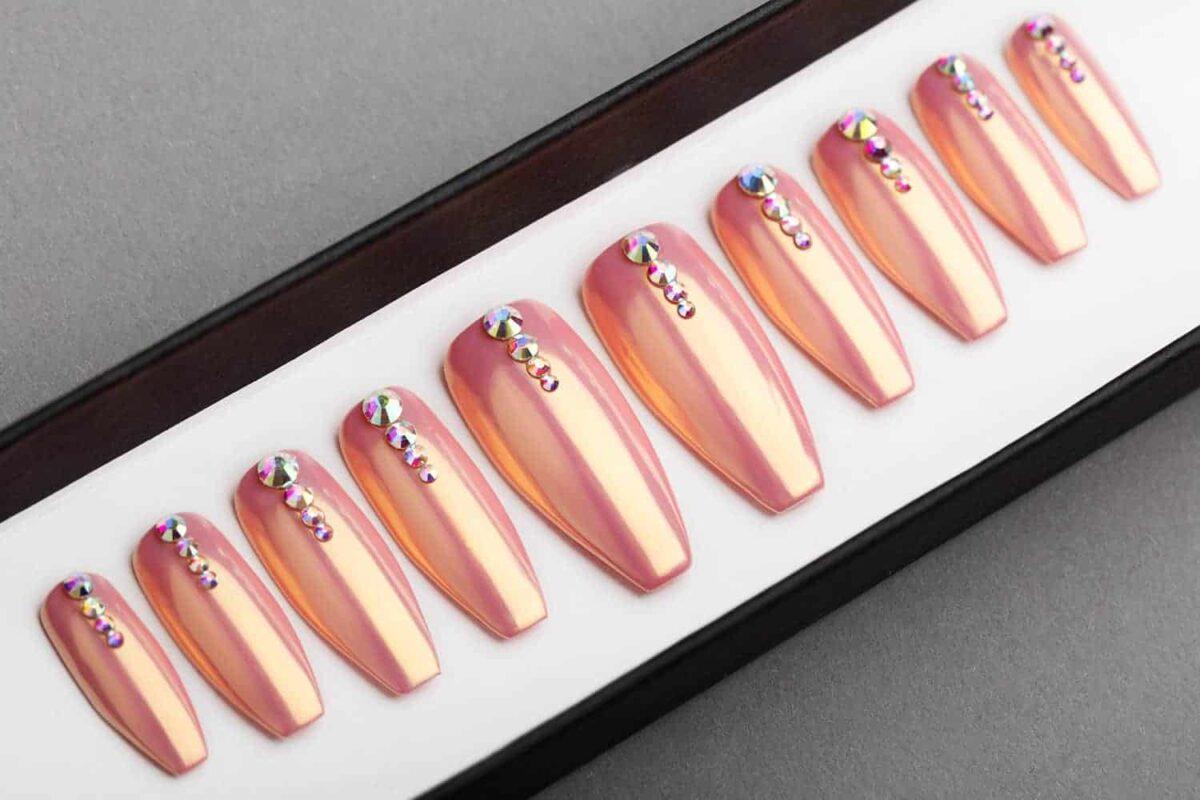 Nude Chrome Press on Nails with Swarovski crystals   Hand painted nail art   Fake Nails   False Nails   Bling Nails