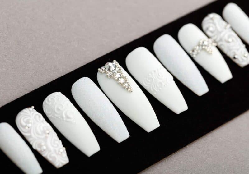 All White Press on Nails with Swarovski Crystals | Nail Art | Fake Nails | False Nails | Glue On Nails | Tracery Nails | Acrylic Nails
