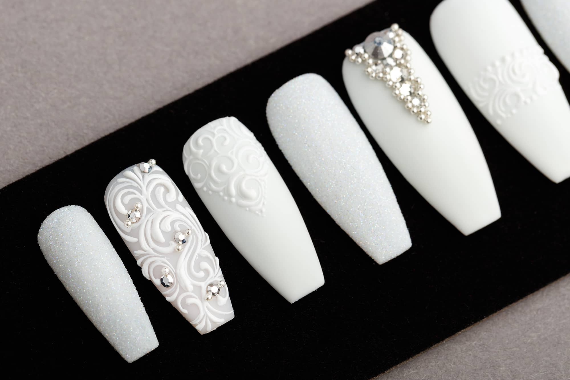 All White Press on Nails with Swarovski Crystals | Nail Art | Fake Nails | False Nails | Glue On Nails | Tracery Nails | Acrylic Nails