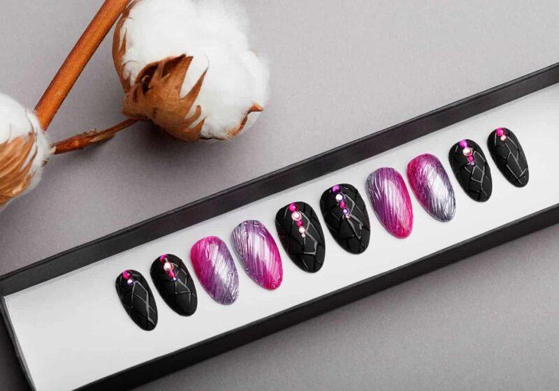 Amazing Texture Silver & Pink Press on Nails | Black Nails | Modern Nails | Hand painted Nail Art | Fake Nails | False Nails