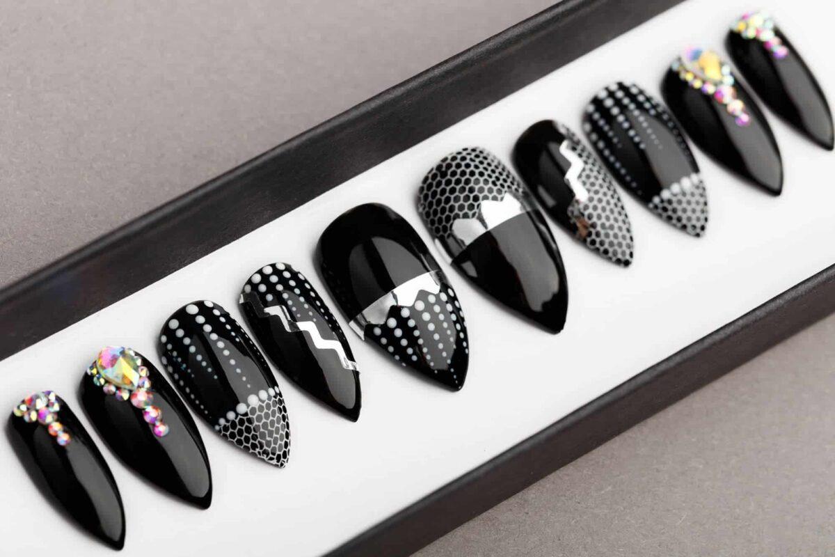 Crystals & Net Press on Nails | Hand painted Nail Art | Fake Nails | False Nails | Glue on nails