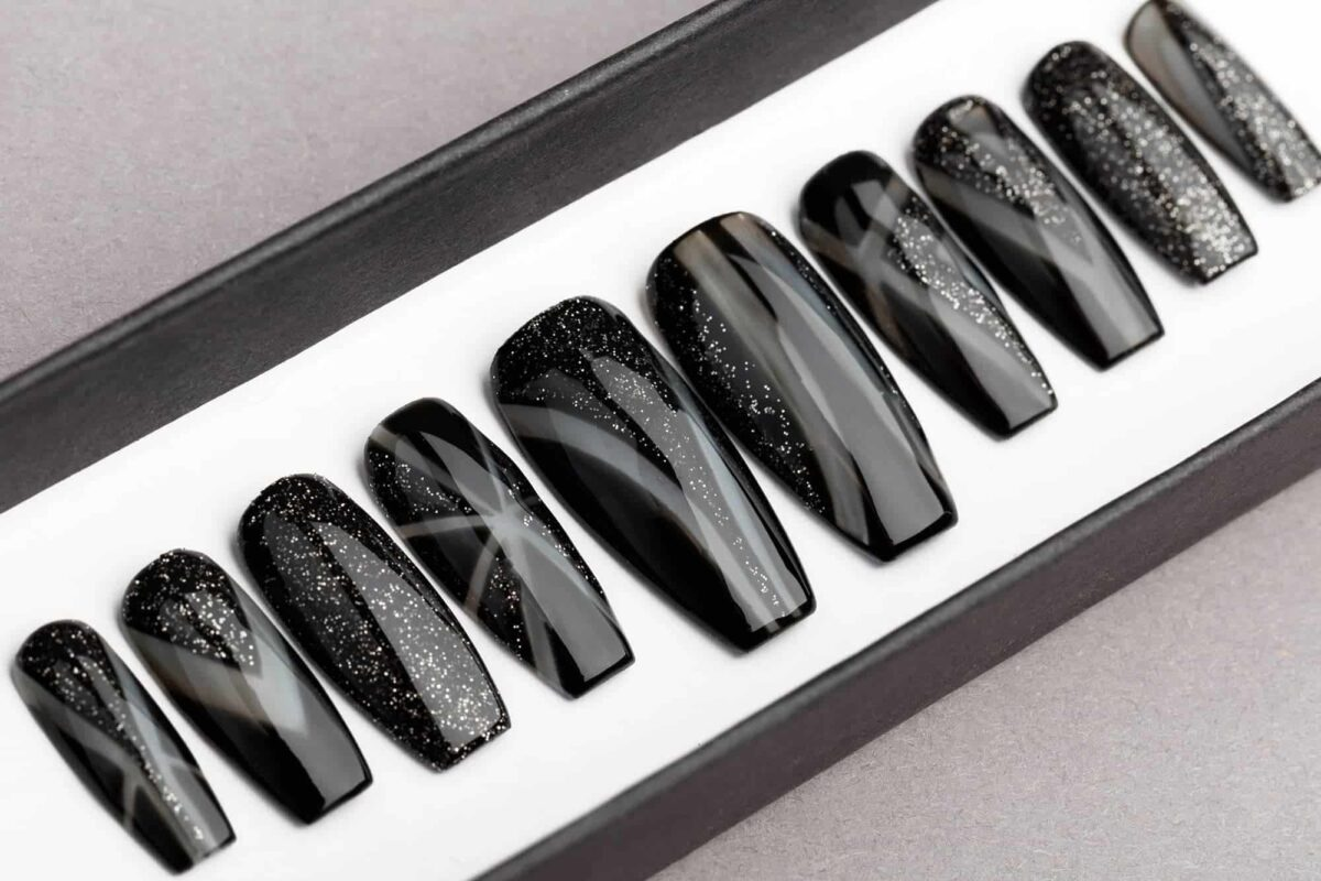 Eclipse Press On Nails with Glitters | Hand painted Nail Art | Fake Nails | False Nails | Artificial nails