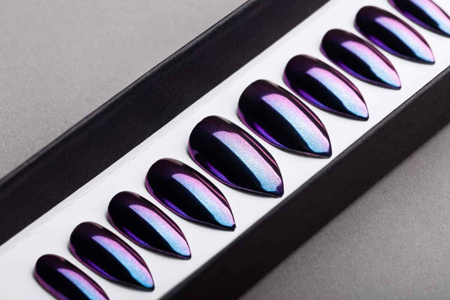 Purple and Blue Mirror Press on Nails | Nude Nails | Handpainted Nail Art | Fake Nails | False Nails | Unicorn Nails | Chrome nails