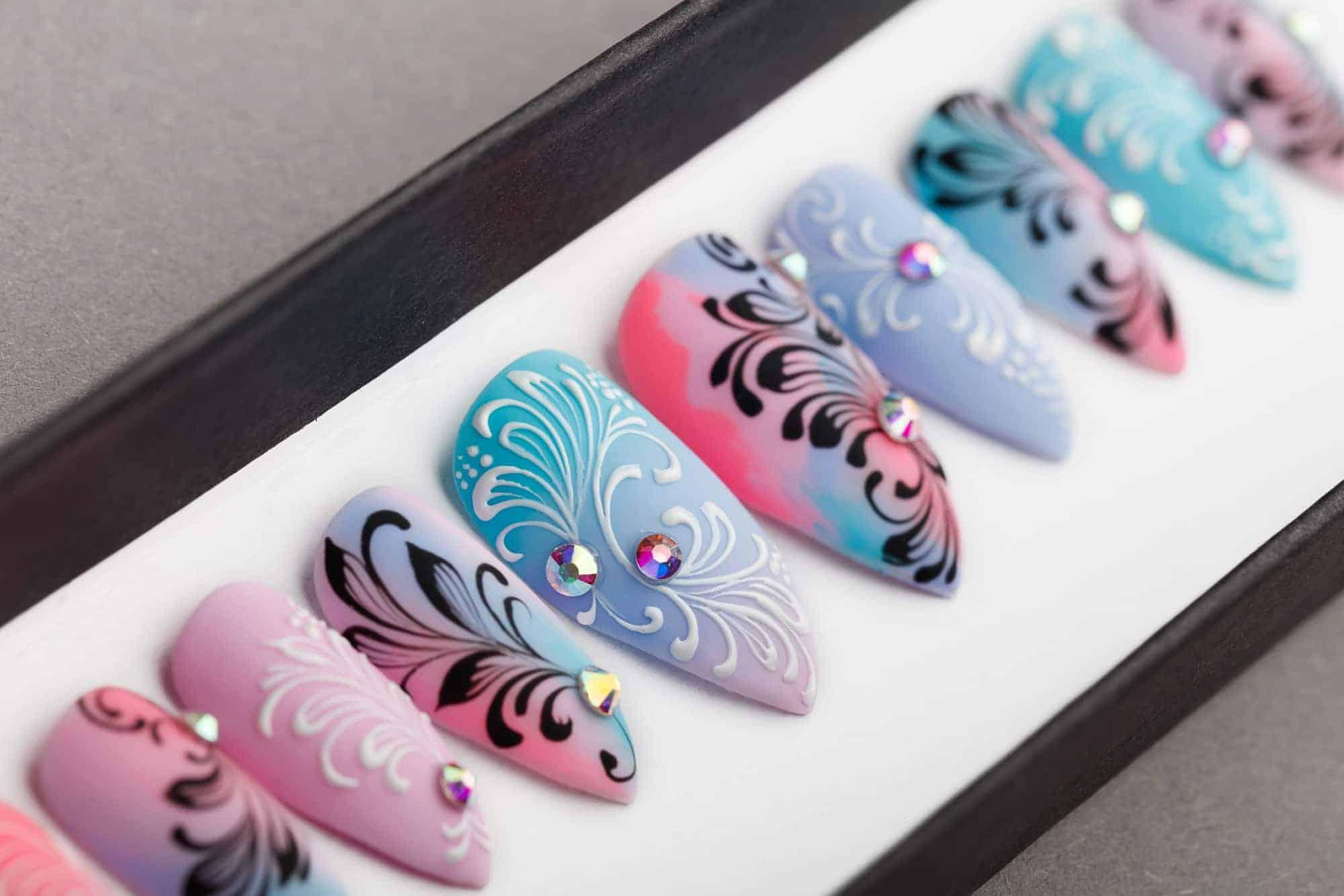 Summer Abstraction Press On Nails with Swarovski Crystals   Hand painted Nail Art   Fake Nails   False Nails   Artificial nails