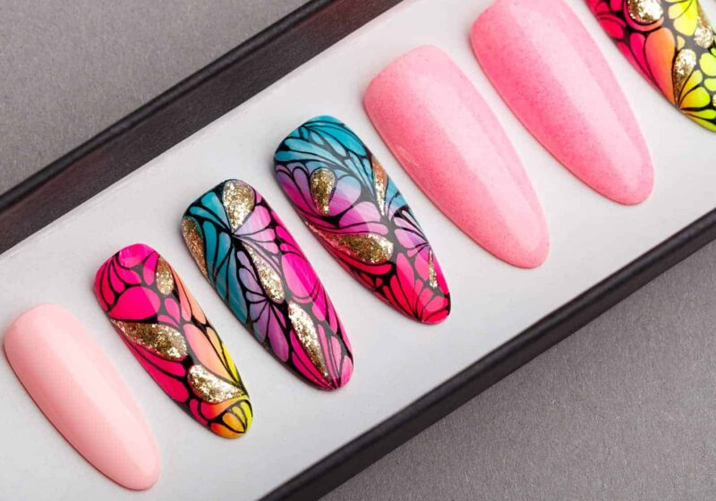 Tropical Press on Nails with Glitters | Fake Nails | False Nails | Handpainted Nail Art | Abstract Nail Art | Bling Nails