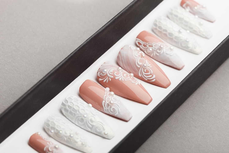 White wedding Press on Nails | Fake Nails | False Nails | Glue On Nails | Tracery Nails | Acrylic Nails | Gel Nails | Handpainted Nail Art