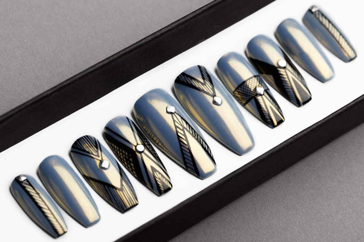 Grey Chrome Abstract Press On Nails | Chrome Prism Effect | Hand painted Nail Art | Fake Nails | False Nails