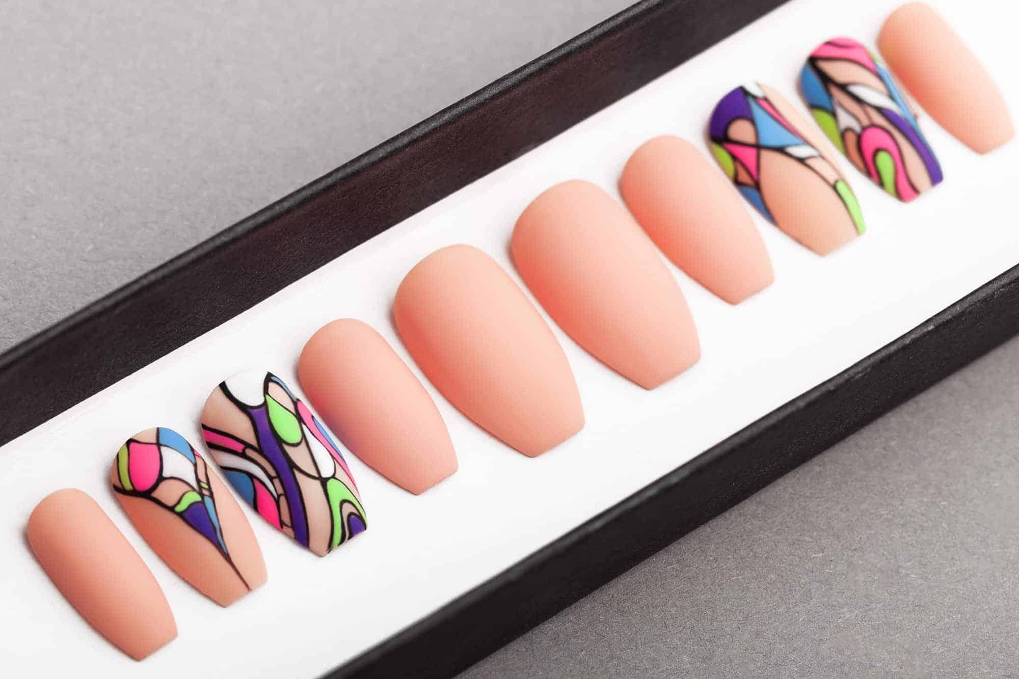 Matte Press on Nails with Enamel effect | Nail Art | Fake Nails | False Nails | Glue On Nails | Acrylic Nails