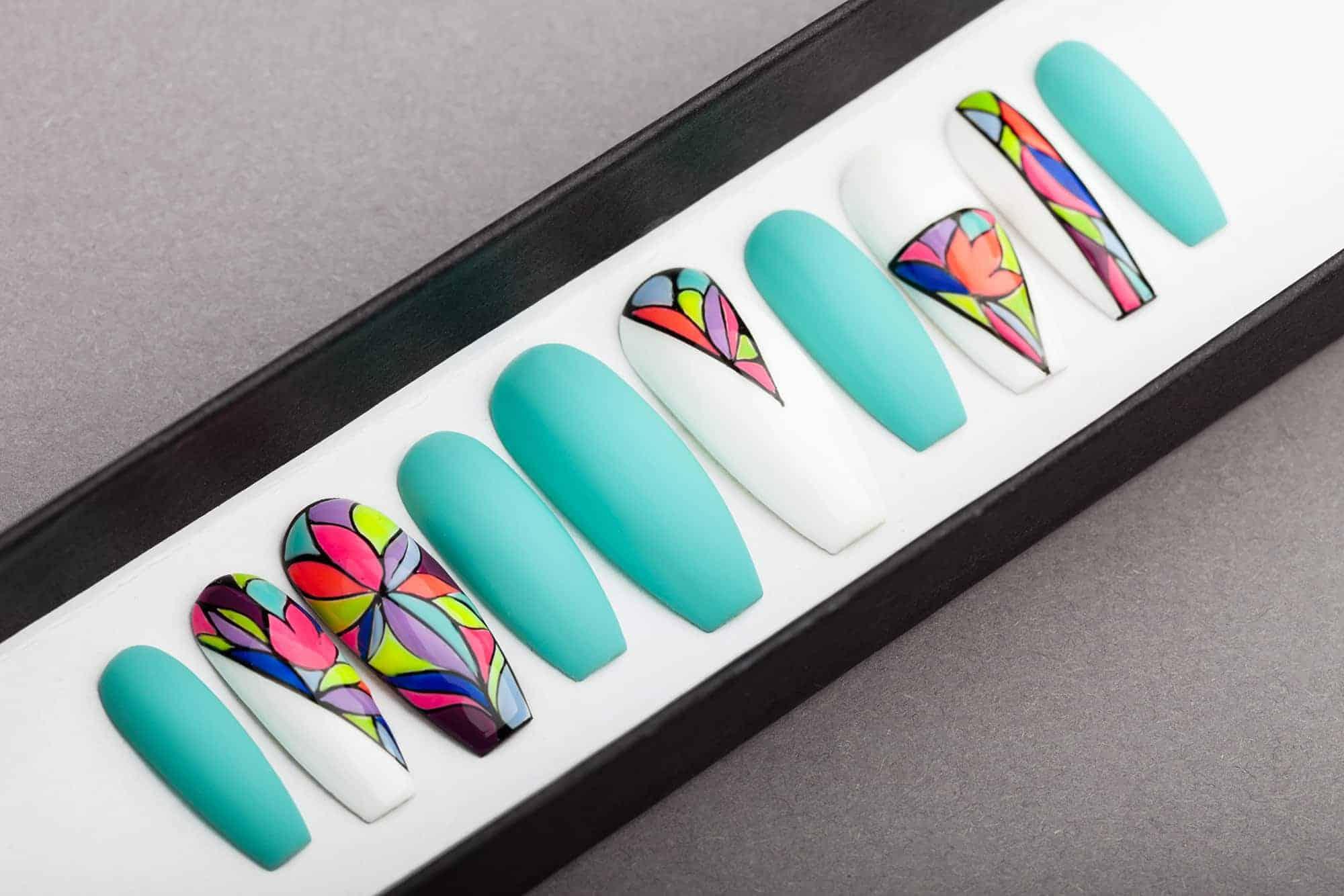 Neon Mosaic Press On Nails | Turquoise nails | Hand painted Nail Art | Fake Nails | False Nails