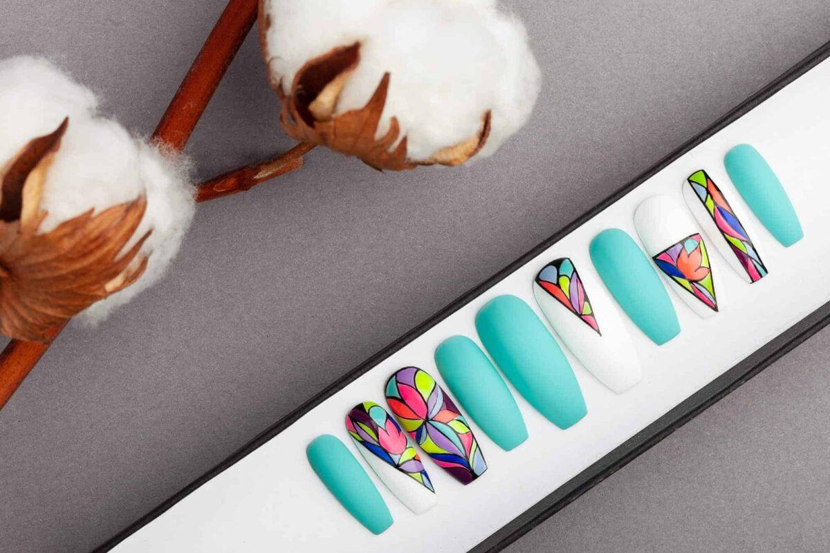 Neon Mosaic Press On Nails   Turquoise nails   Hand painted Nail Art   Fake Nails   False Nails