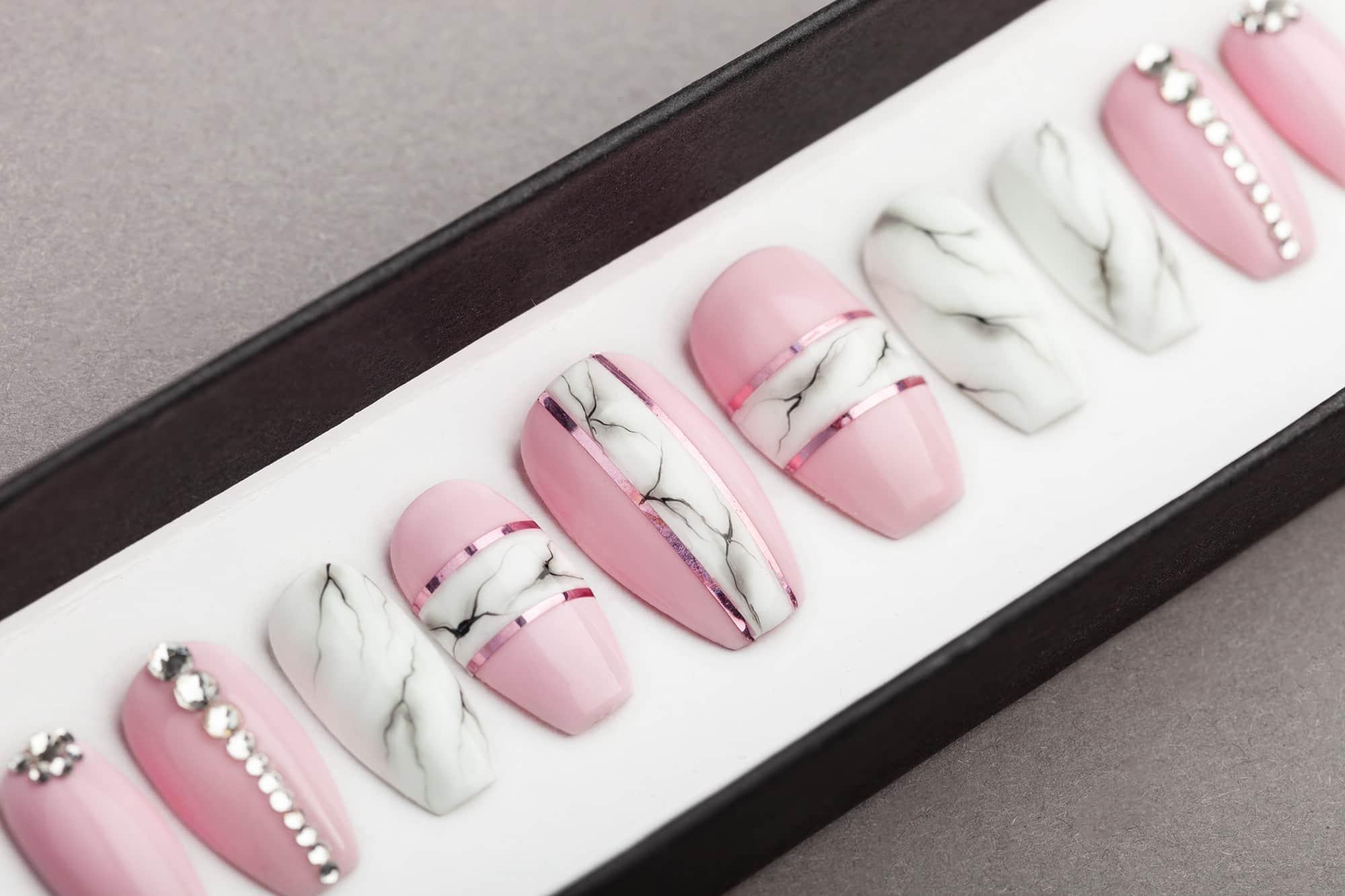 Pink and White Marble Press on Nails with Swarovski Crystals | Nail Art | Fake Nails | False Nails | Glue On Nails | Acrylic Nails