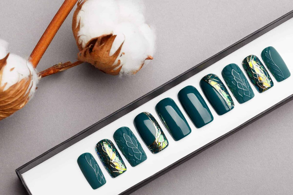 Jade Green Press on Nails with 3D texture | Shattered Glass | Handpainted Nail Art | Fake Nails | False Nails