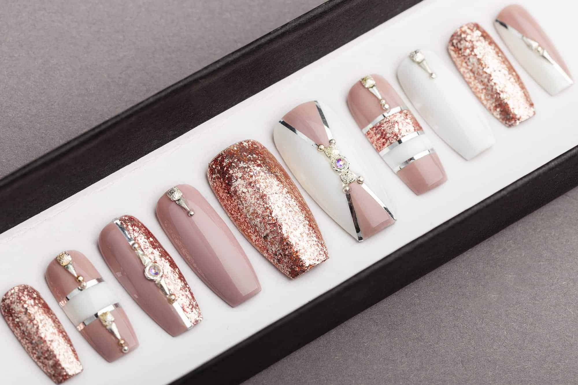 Luxury Rose Gold with White Press on Nails | Rose Gold Swarovski | Handpainted Nail Art | Fake Nails | False Nails | Glue On Nails