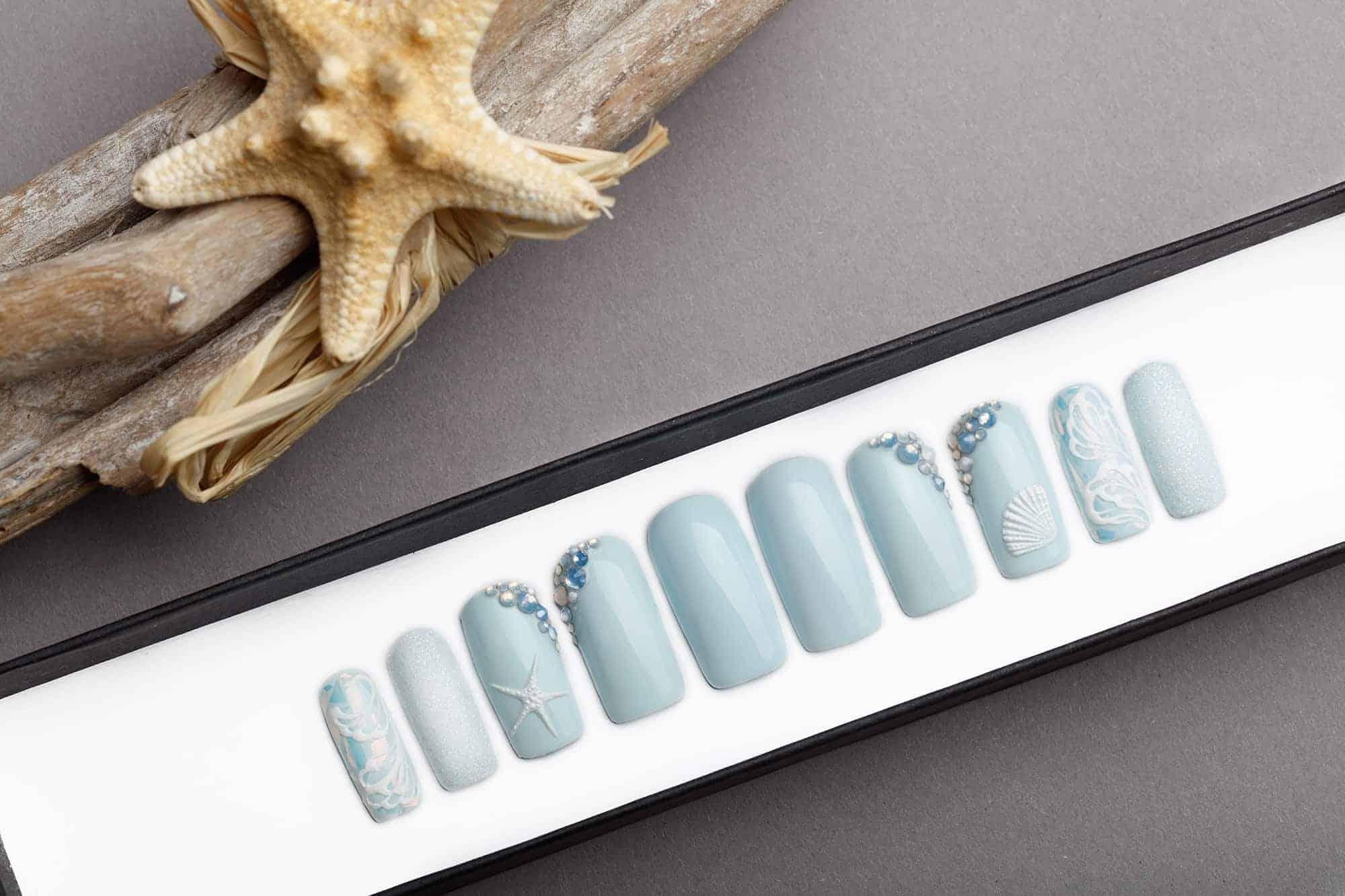 Marine Nails with Swarovski Opal Crystals   Press On Nails   Hand painted nail art   Fake Nails   False Nails