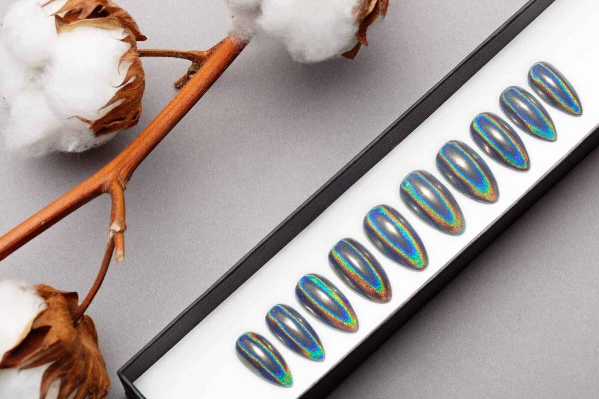 Mirror Prism Press on Nails   Unicorn Nails   Hand painted Nail Art   Fake Nails   False Nails   Celebrity Nails