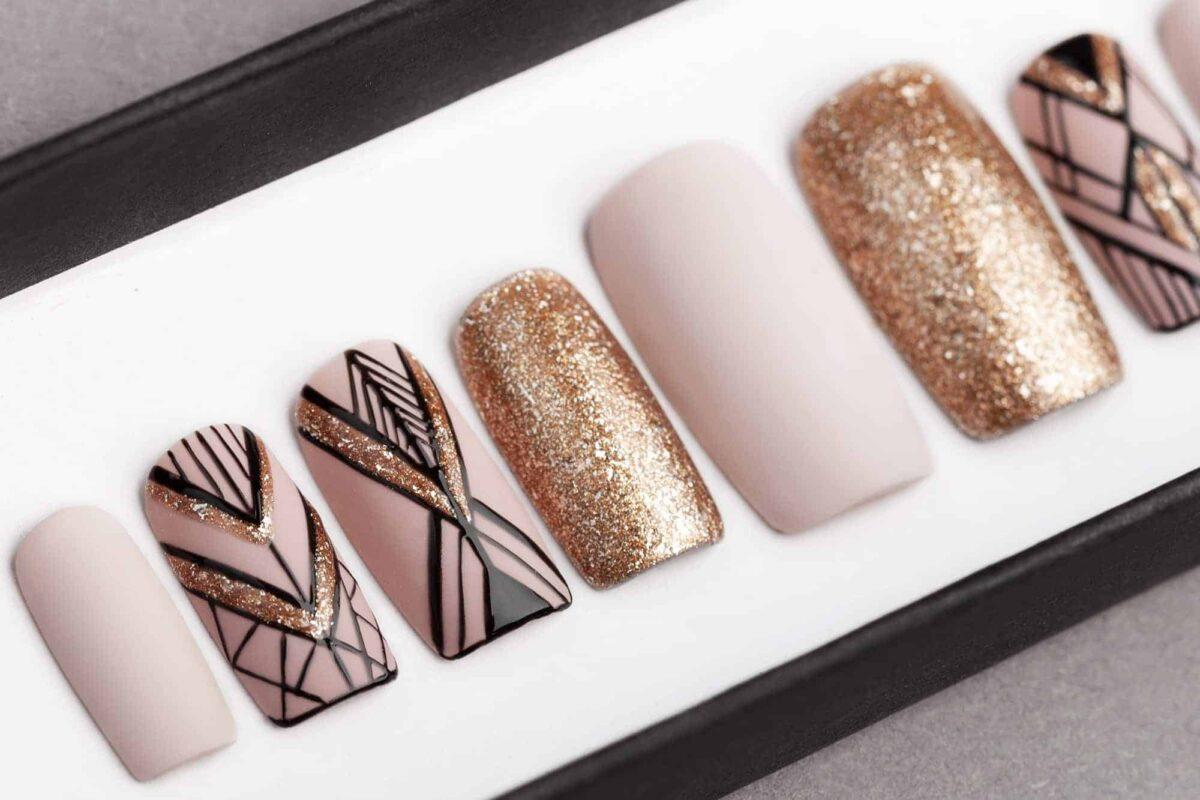 Mocha & Sand Gold Geometry Press on Nails | Hand painted Nail Art | Fake Nails | False Nails | Artificial Nails | Glitters | Glue on Nails