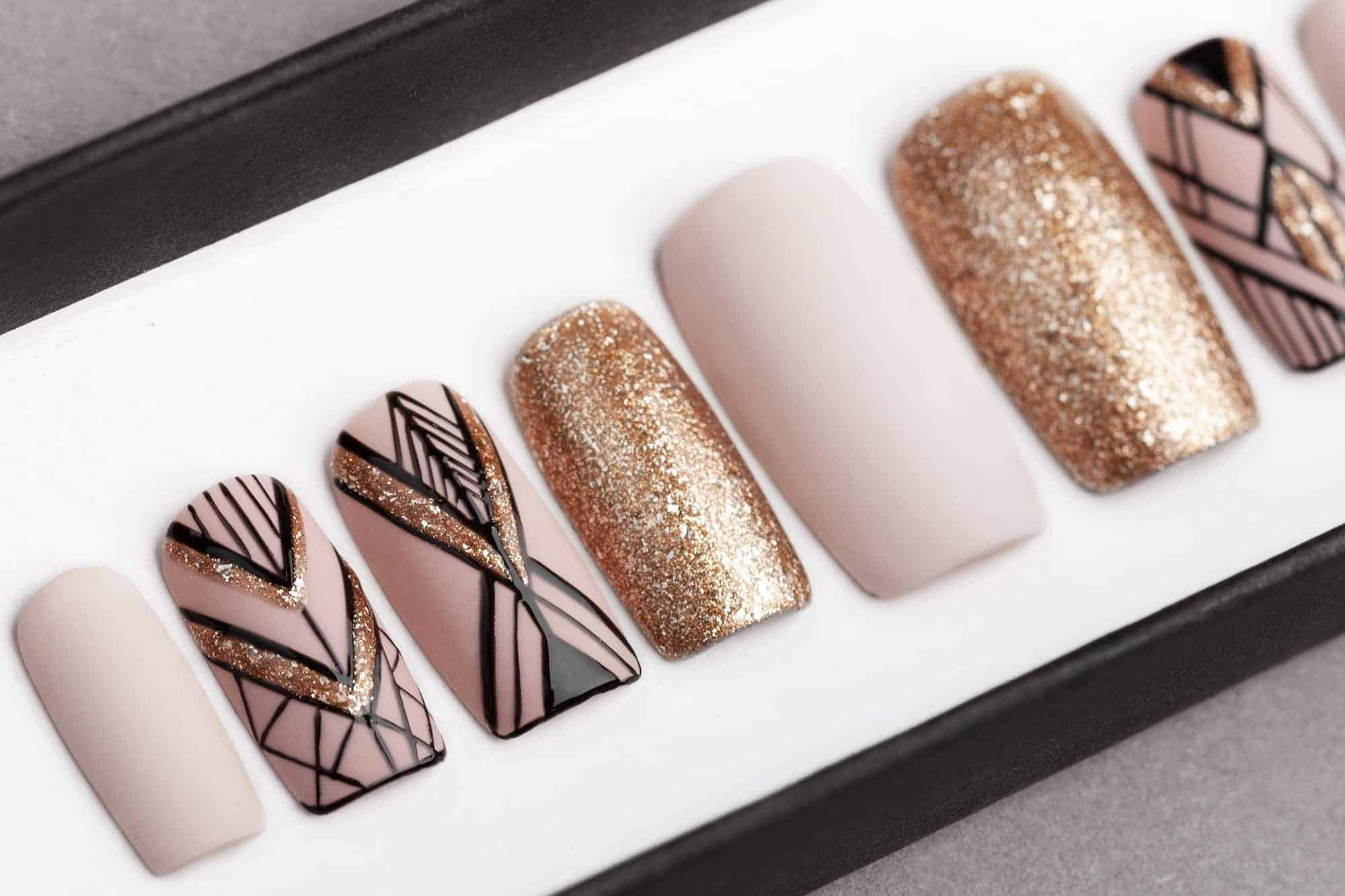 Mocha & Sand Gold Geometry Press on Nails | Hand painted Nail Art | Fake Nails | False Nails | Artificial Nails | Glitters | Glue on Nails