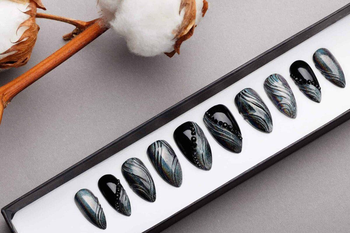 Modern Gothic Press On Nails with Black Swarovski Crystals | Chrome Prism Effect | Hand painted Nail Art | Fake Nails | False Nails