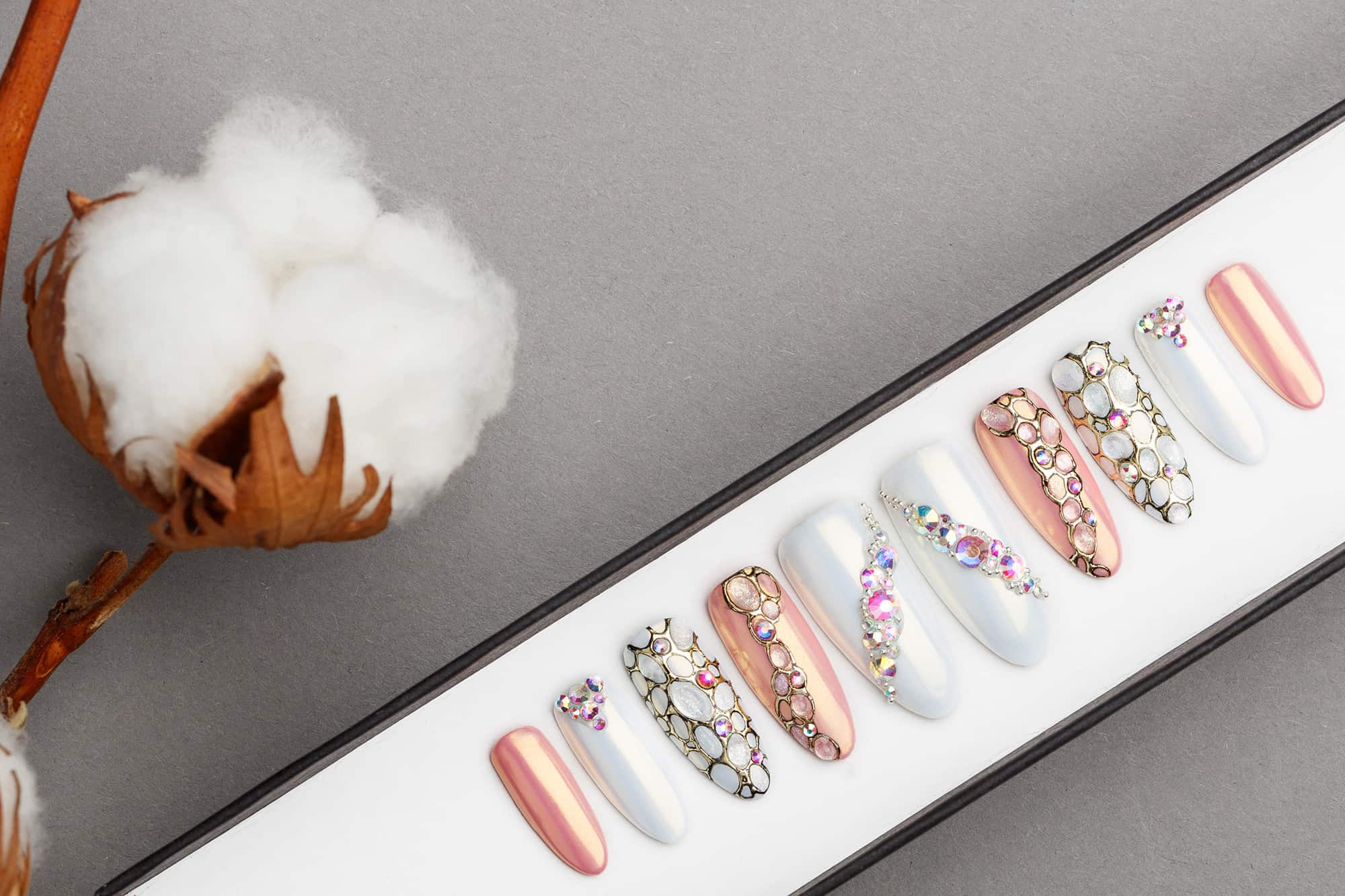 Pearl White and Nude Press on Nails | Handpainted Nail Art | Fake Nails | False Nails | Glue On Nails | Swarovski Crystals