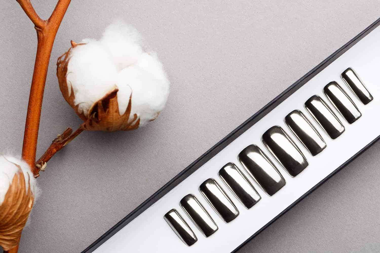 Silver Mirror Press on Nails | Nude Nails | Handpainted Nail Art | Fake Nails | False Nails | Unicorn Nails | Chrome nails | Manicure