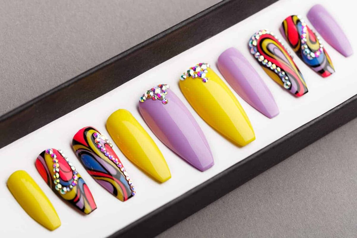 Tropical Abstraction Press on Nails with Swarovski crystals   Fake Nails   False Nails   Abstract Nail Art   Bling Nails