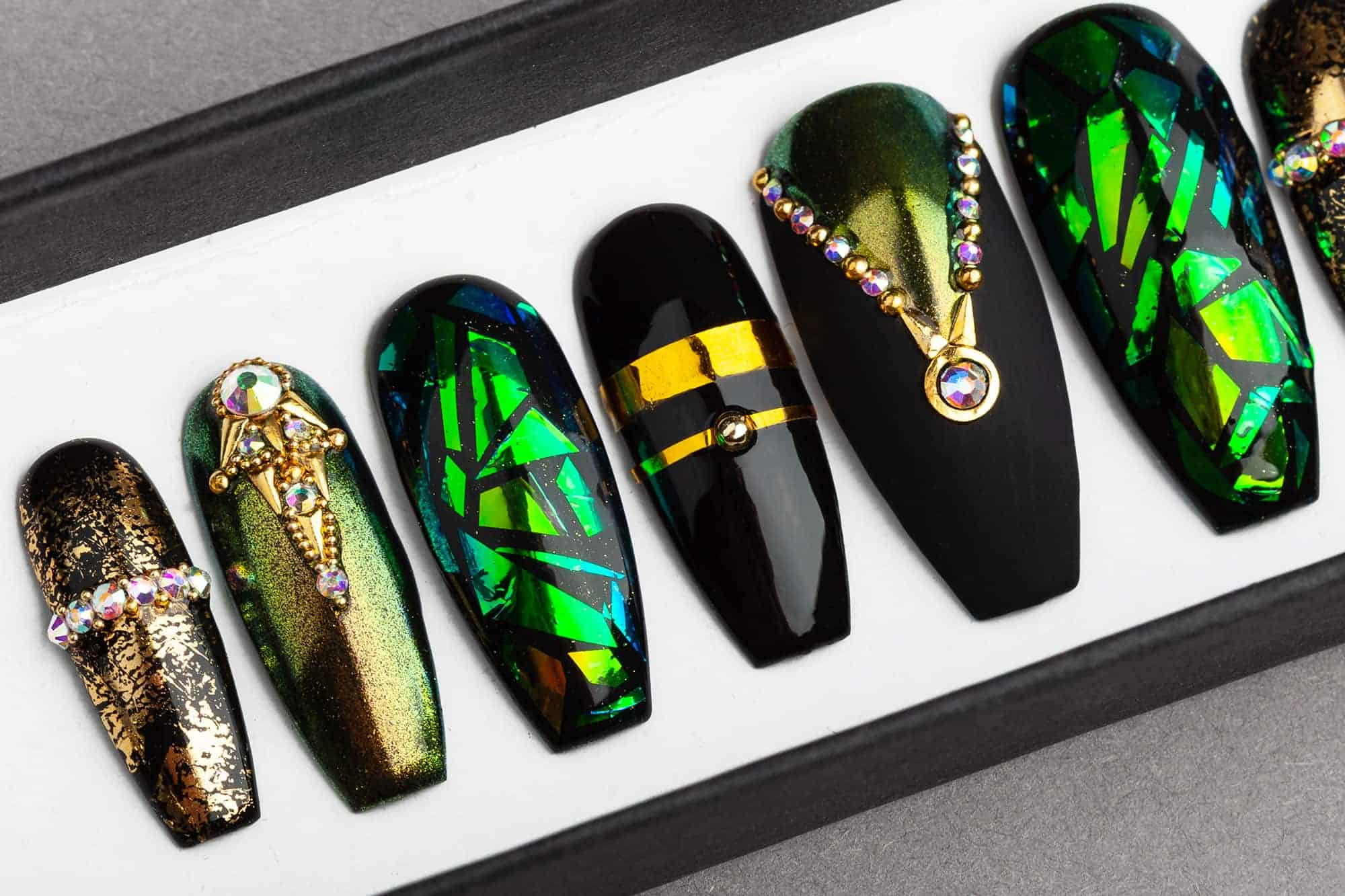 Egyptian Curse Press on Nails   Fake Nails   False Nails   Glue On Nails   Shattered Glass   Handpainted Nail Art