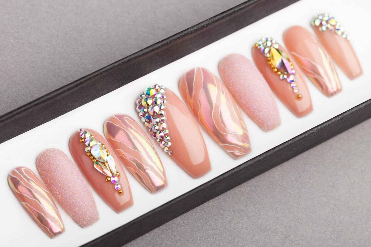 Pearl Beige Press on Nails | Fake Nails | False Nails | Glue On Nails | Swarovski Crystals | Handpainted Nail Art
