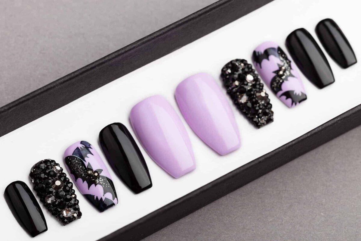 Halloween Bats Press on Nails with Swarovski Crystals | False Nails | Glue On Nails | Hand-painted Nail Art | Fake Nails