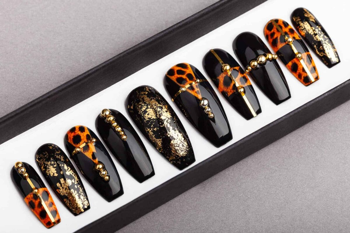 Leopard Press on Nails with Golden Foil | Hand-painted Nail Art | Fake Nails | False Nails | Glue On Nails