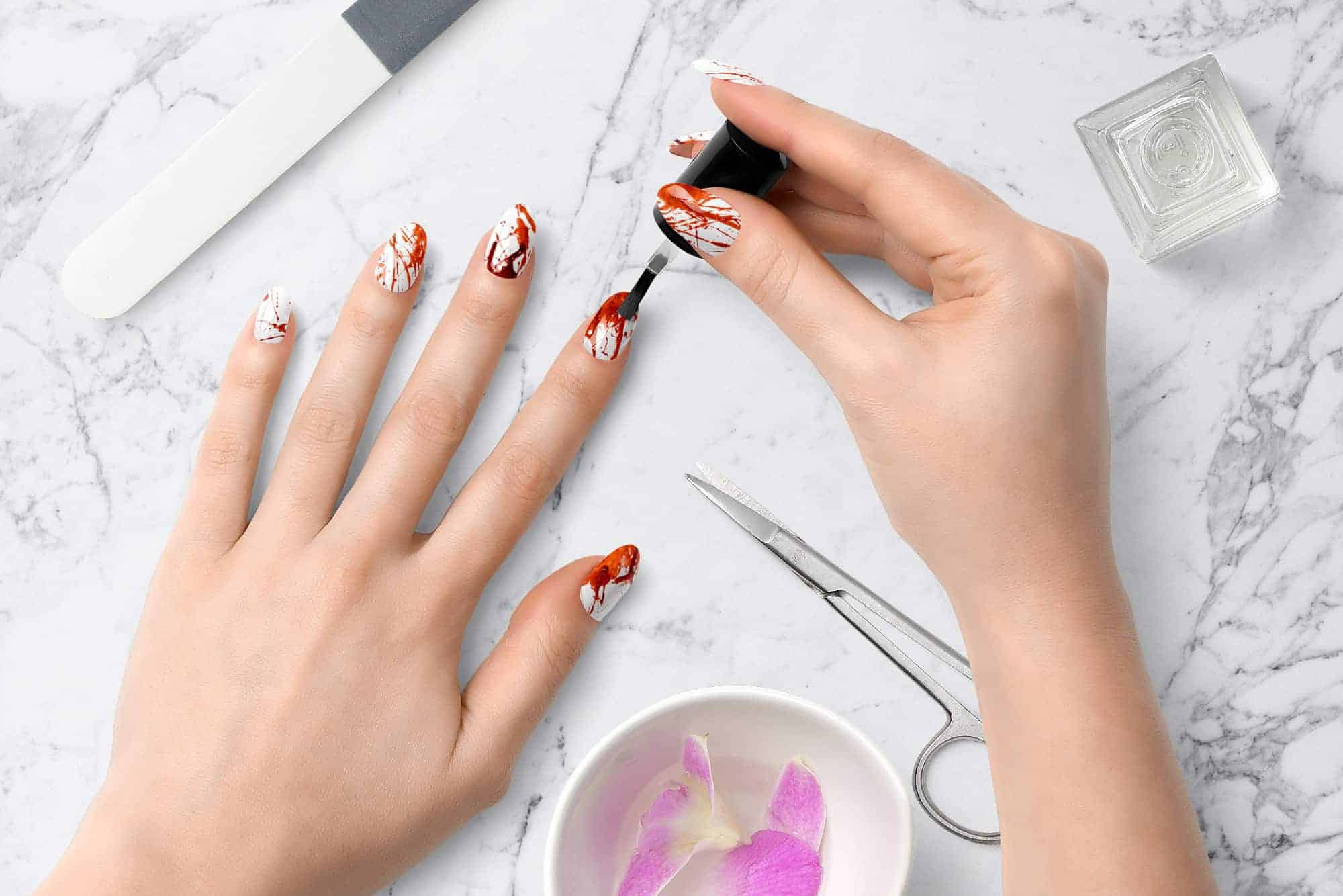 Halloween Nail Decals, Blood Splatter waterslide decal, Blood Splatter, Press On Nails Decals, Bloodstain, Nail Art, Nail Stickers