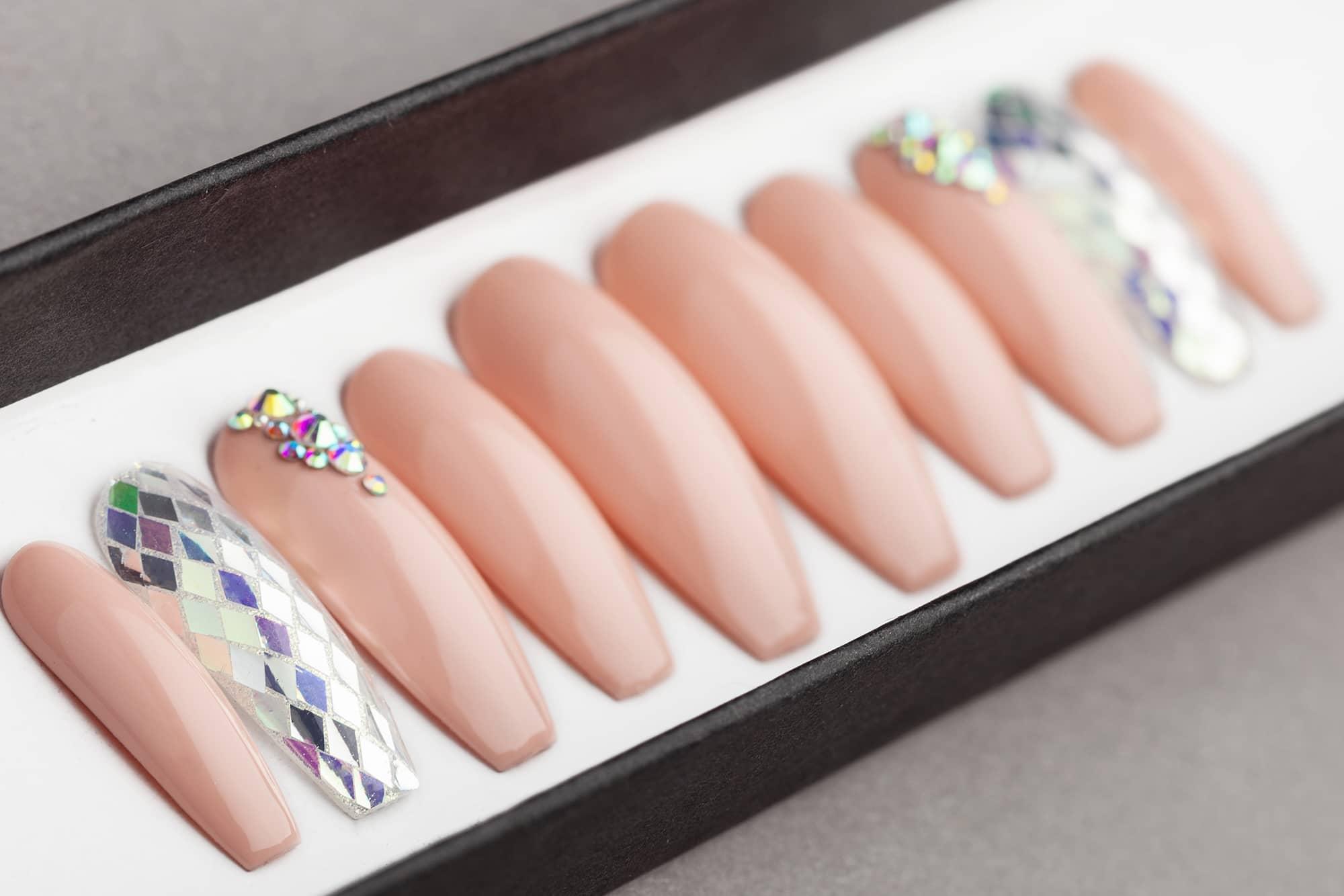 Beige & Diamonds Press on Nails with Swarovski Crystals